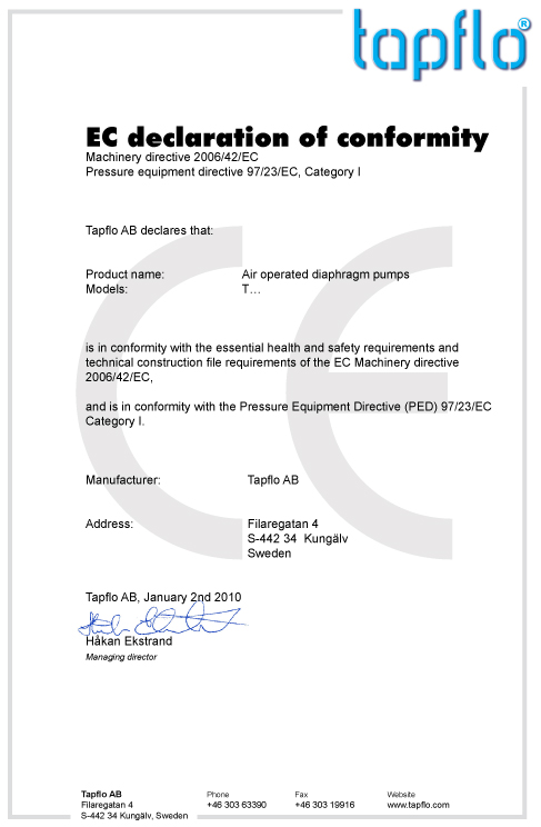 Tapflo AODD pumps CE certificate incl PED directive