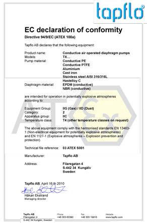 tapflo atex declaration of conformity group IIC with EPDM or NBR diaphragms 2010